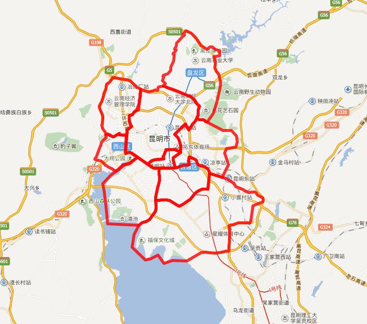 昆明市区配送范围图