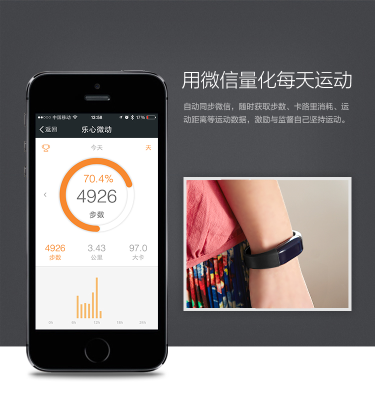 乐心(LIFESENSE) Mambo微信版 运动手环 智能手环