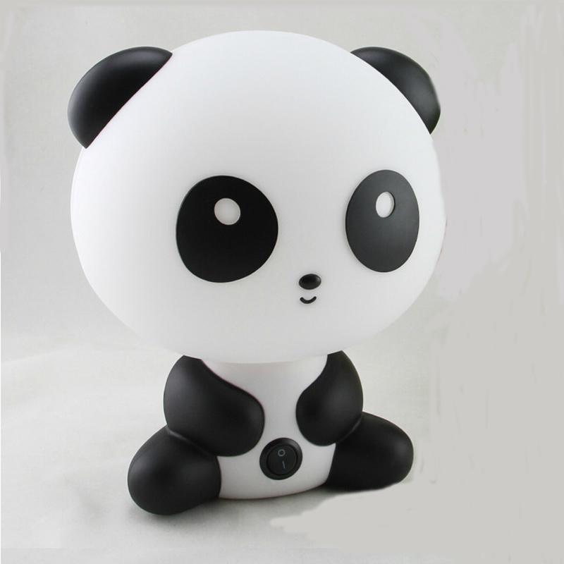 【艾嘉居创意可爱卡通熊猫节能插电台灯床头灯黑白色