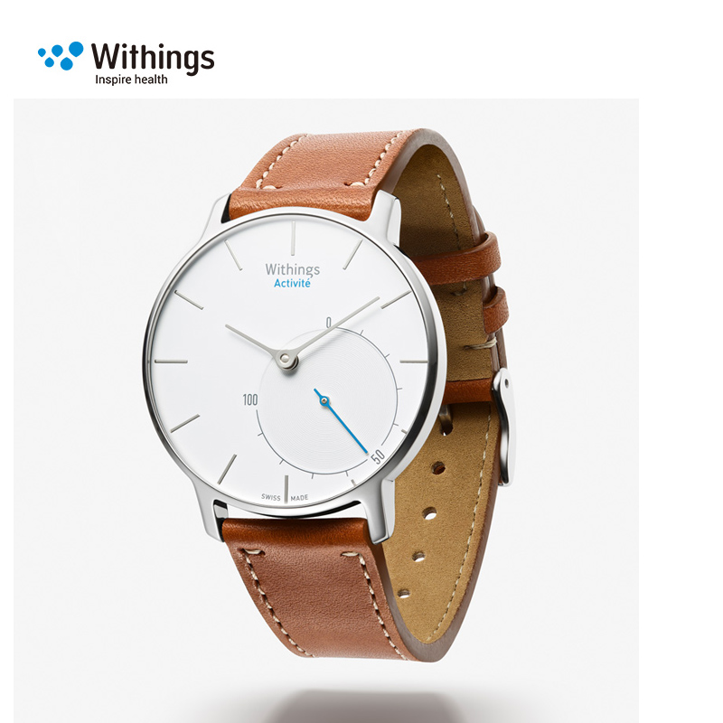 withings activite智能手表 真皮可拆卸表带白色